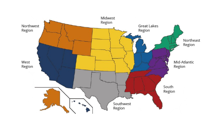A map from USQ shows the United States divided into its Northwest, West, Midwest, Great Lakes, Northeast, Mid-Atlantic, South, and Southwest regions for quidditch. Alaska is included in the Northwest Region, and Hawaii is included in the West Region.