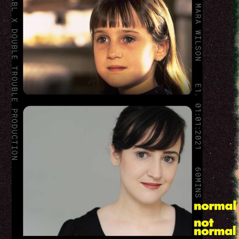 An image of a young Mara Wilson as Matilda sits above of an image of Wilson from the present day.