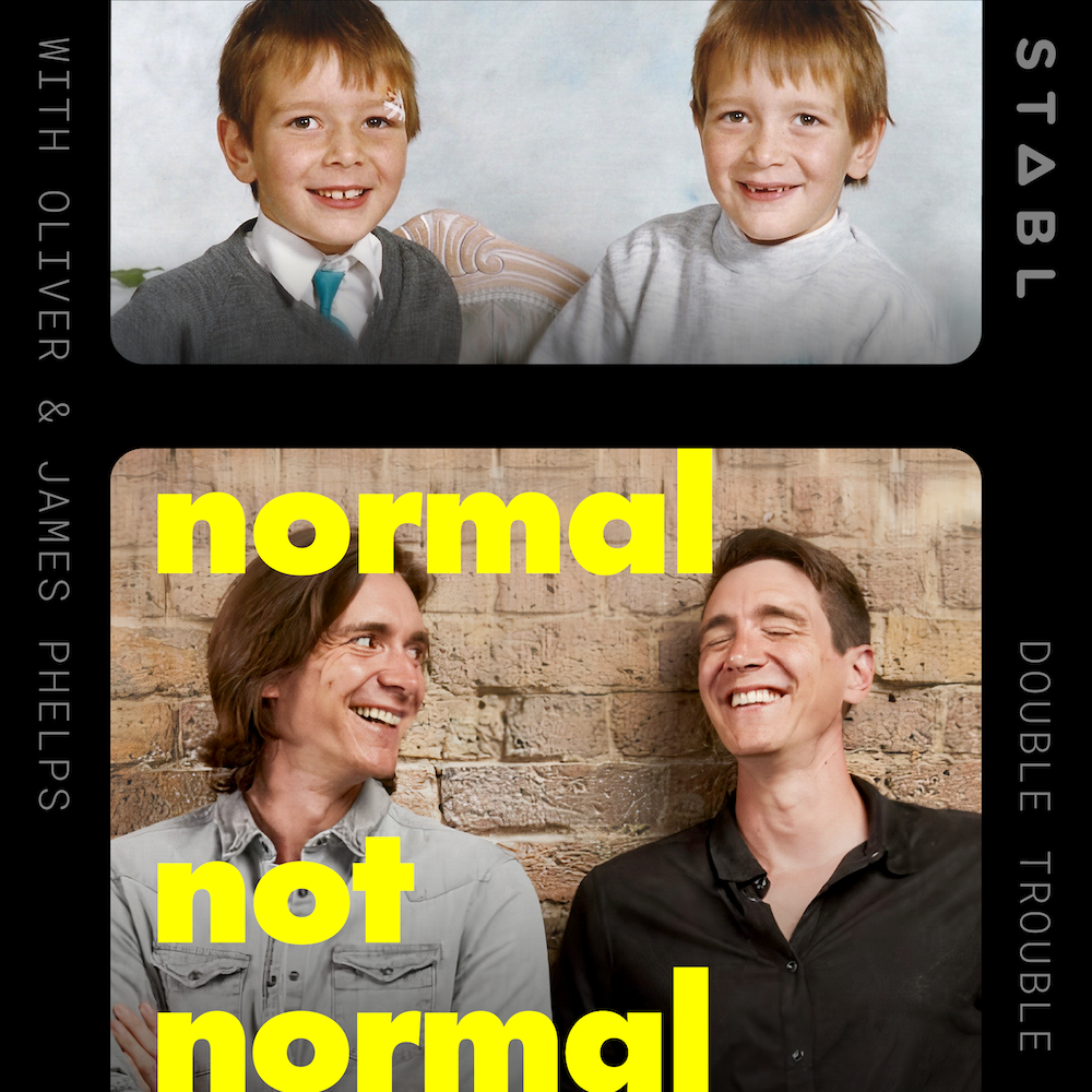 "An image of a young James and Oliver Phelps sits above an image of them of present day. The text reads ""Normal Not Normal""."