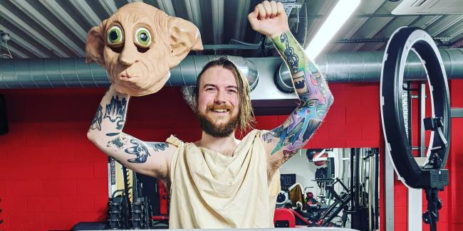 Oliver Dall dressed as Dobby for Charity Marathon
