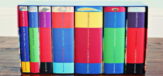 All seven of the original Harry Potter book spines