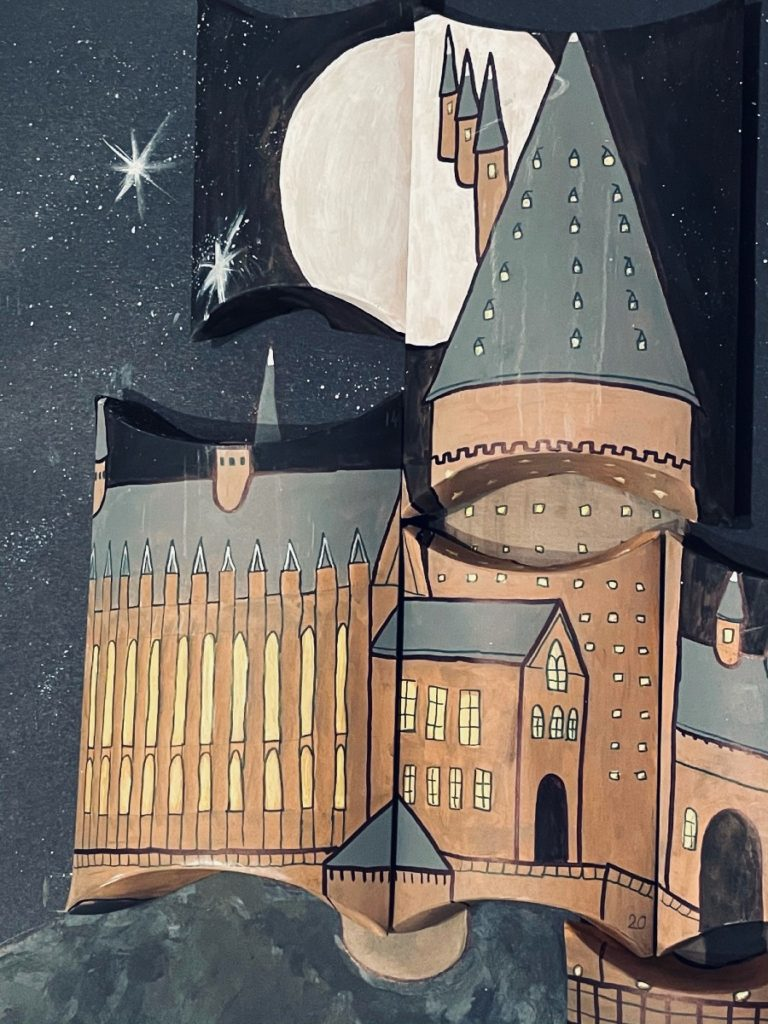 Vincent painted over pillow boxes to create the Hogwarts Castle design on the advent calendar.