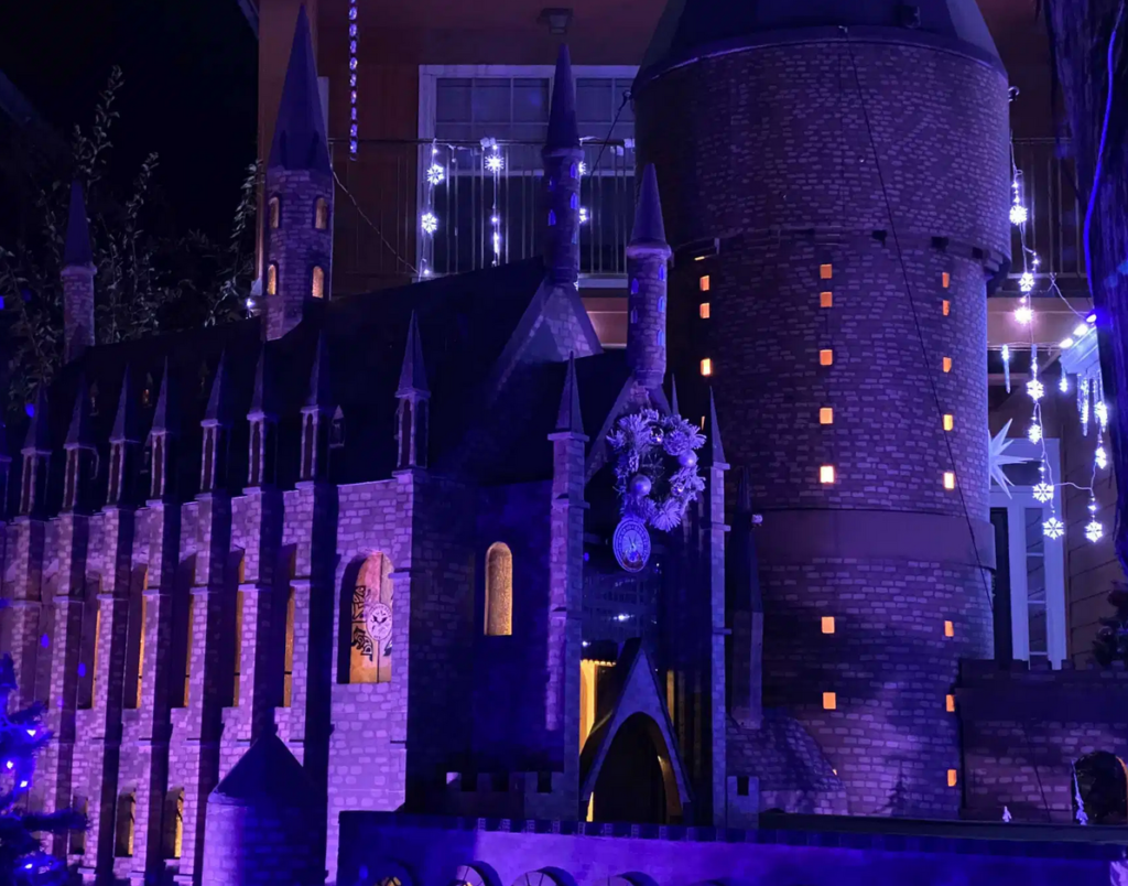 The Pace family's Hogwarts-themed holiday display in Texas is shown.