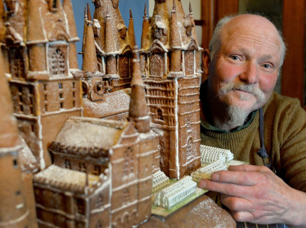 A close up of Terry and his gingerbread Hogwarts