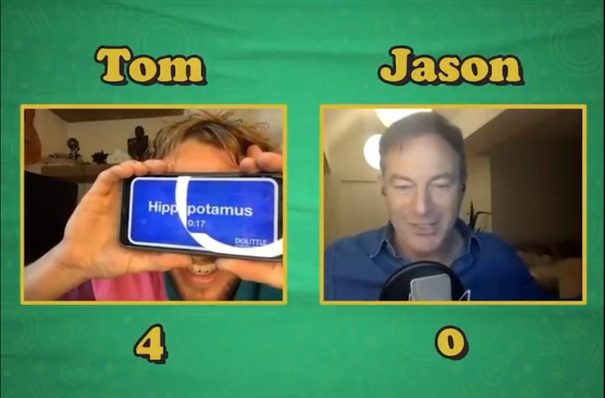 "Tom Felton guesses ""dinosaur"" incorrectly to Jason Isaacs's clues."