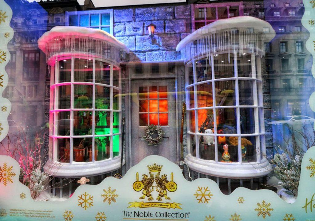 The window display at Hamleys is shown.