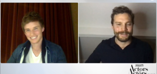 "Eddie Redmayne (left) and Jamie Dornan (right) appear via video call for a conversation on ""Actors on Actors."""