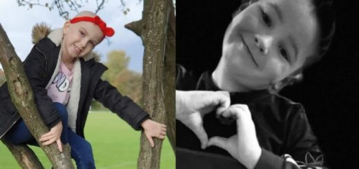 In a split image, on the left is a seven year old girl climbing a tree. She is lively but she has lost her hair due to chemotherapy. On the right is her childhood boyfriend Codi showing a heart sign with his hands.