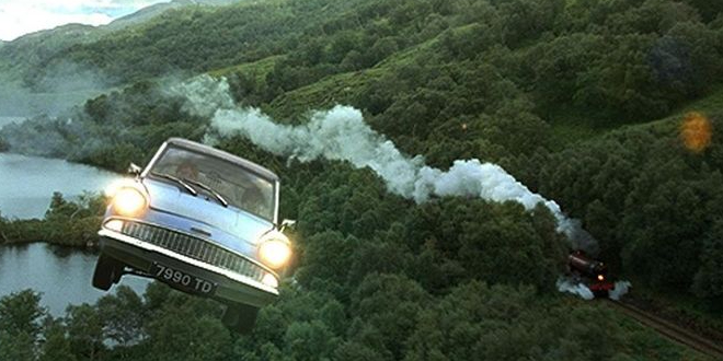 "The flying Ford Anglia following the Hogwarts Express in ""Harry Potter and the Chamber of Secrets"""