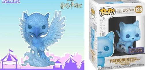 A phoenix Funko Pop and a boxed cat Funko Pop patronus figurine are displayed. They are blue and cute.