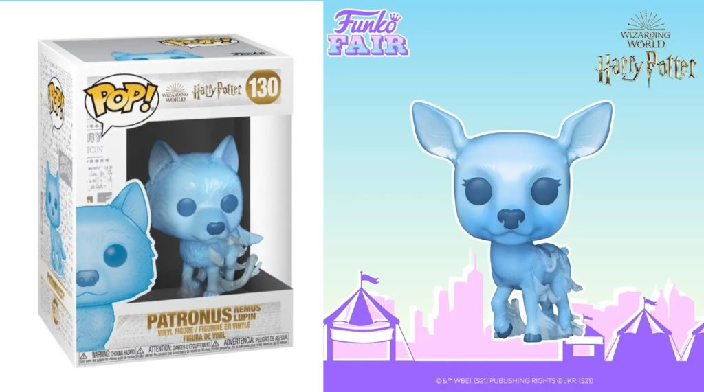 Blue and cute Funko Pop figurines are displayed in the shape of a doe and a wolf.