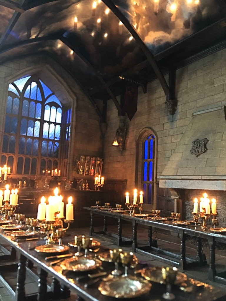 The Great Hall is aglow with candles and the magically enchanted ceiling.