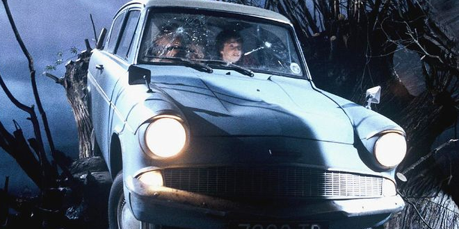 Harry and Ron crashing the Ford Anglia into the Whomping Willow