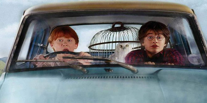 "Harry and Ron flying the Ford Anglia in ""Harry Potter and the Chamber of Secrets"""