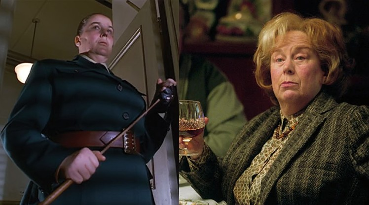 On the left, Pam Ferris is pictured as the scary Miss Trunchbull from Matilda, on the right she is Aunt Marge in Harry Potter.