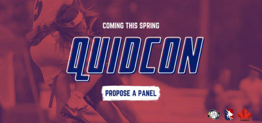 "There is a big blue sign QuidCon on the red background with photo of some player who is trying to tackle another player. There is white sign ""Coming this spring"" above QuidCon and blue sign ""Propose a panel"" on the white backgrounf below. In the left corner below there are logos of US Quidditch, Major League Quidditch a Quidditch Canada,"