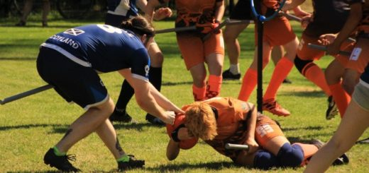 A male beater in a Scottish jersey is shown trying to take a red bludger from a beater in a Dutch jersey who is lying on the ground. There are another two Scottish players and four Dutch players in the background.