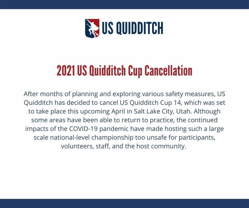 """Infographic. The logo for US Quidditch is shown on a white background with """"2021 US Quidditch Cup Cancellation"""" beneath it. Information about the cancelation is shown underneath the heading."""