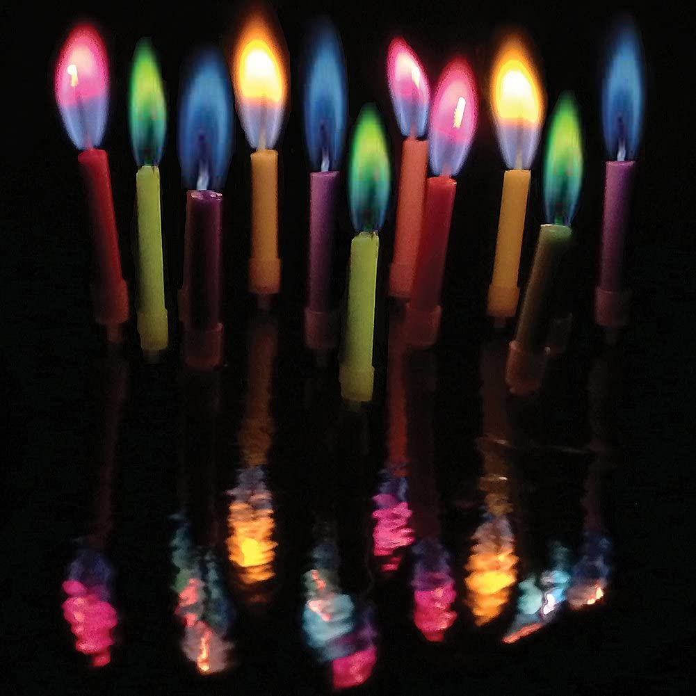 These birthday candles change colors.