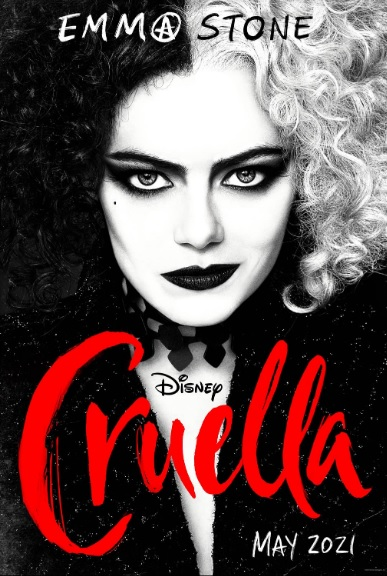 "Emma Stone is pictured as Cruella de Vil on a movie poster for the upcoming film ""Cruella."""