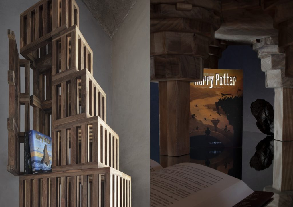 It is a split image of new, subtle, but magical Harry Potter book cover designs with the books placed in environments of subdued and tasteful interior design elements.