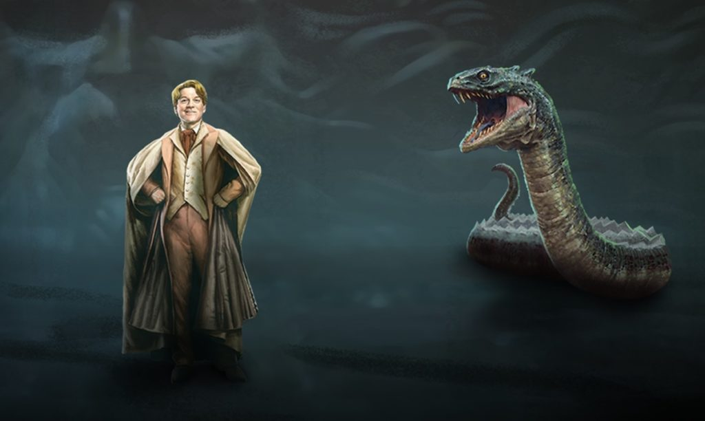 """A graphic from """"Wizards Unite"""" features Gilderoy Lockhart and Slytherin's Basilisk."""