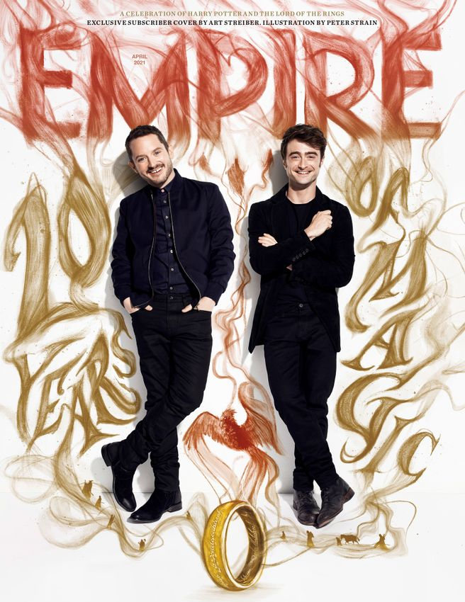 Elijah Wood and Daniel Radcliffe pose for a joint full-body portrait for Empire magazine with magical handdrawn illustrations all around them.