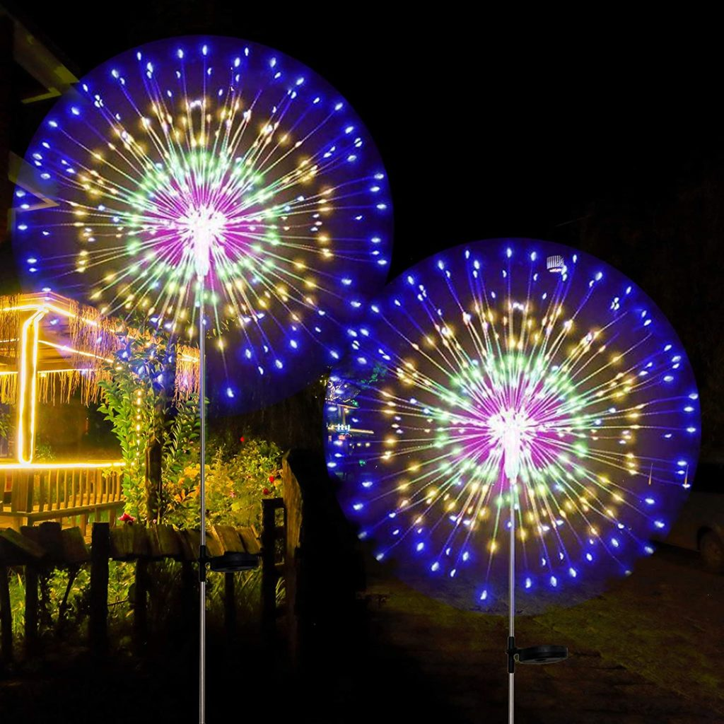 These lawn lights look like fireworks.