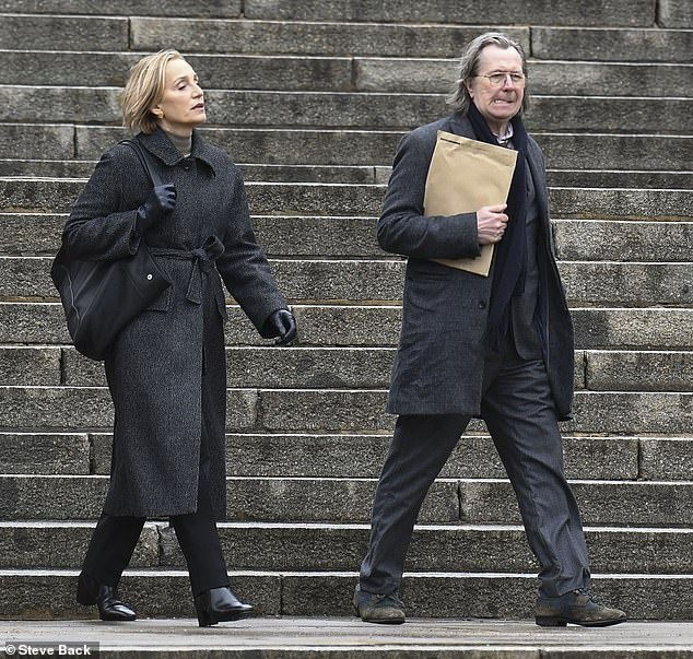 """Gary Oldman and Kristin Scott Thomas pretend they aren't spies during filming for """"Slow Horses."""""""