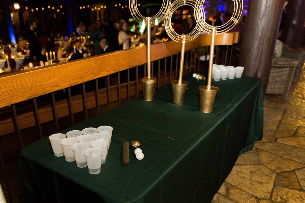 """At the reception, guests were able to play """"Quidditch Pong"""" instead of beer pong."""