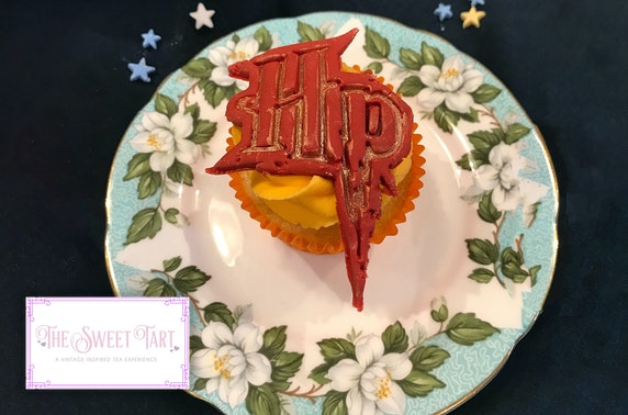 "The most decorated and most delicious-looking item on the Sweet Tart's ""Harry Potter""-themed afternoon tea menu is the Harry Potter cupcake."
