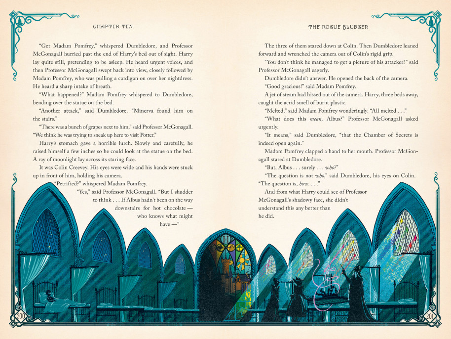 """Many famous scenes are illustrated in this magical version of """"Harry Potter and the Chamber of Secrets."""""""