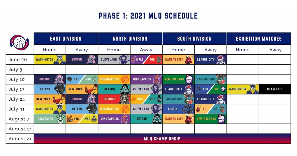 A schedule for Phase 1 of the 2021 MLQ season shows home and away games by division for the length of the season, with one exhibition match between Washington and Charlotte on July 17.
