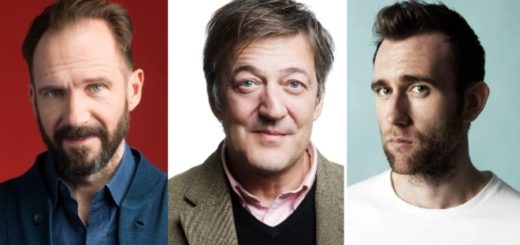 A split image of Ralph Fiennes, Stephen Fry, and Matthew Lewis's portraits.
