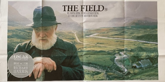 A faded film poster shows Richard Harris and a backdrop of an Irish landscape.