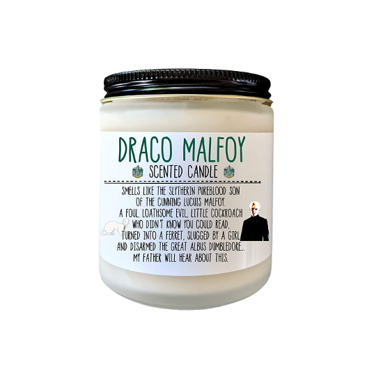 The Draco Malfoy Scented Candle from Define Design 11 is shown as pictured on Amazon.