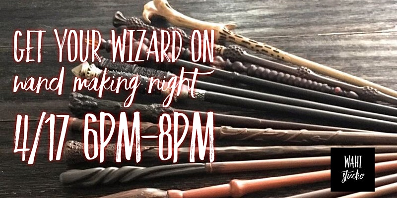 The Eventbrite banner for the Get Your Wizard On Wand Making Night in Newfane, NY, is shown.
