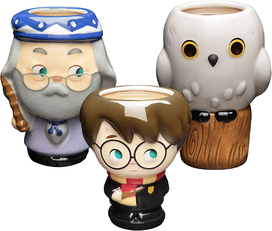 A set of three figural mugs of Dumbledore, Harry, and Hedwig with art by Jerrod Maruyama is shown as pictured on Amazon.