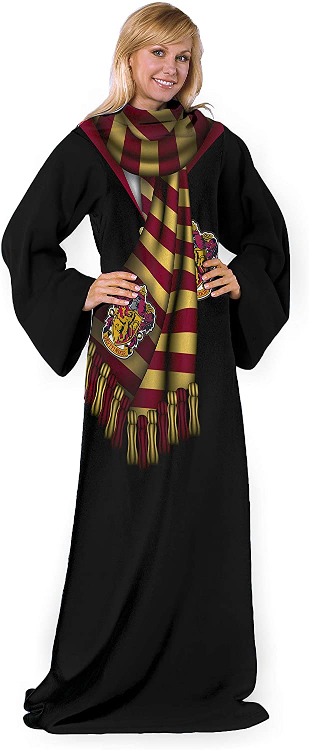 The Harry Potter Comfy Throw Blanket with Sleeves is shown as pictured on Amazon.