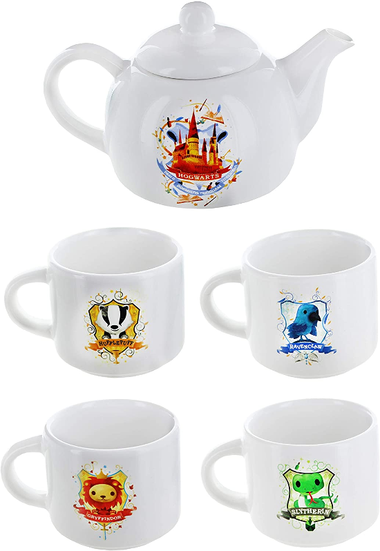 The Harry Potter Hogwarts Mini Teapot and 4 House Mini Mugs are shown as pictured on Amazon.