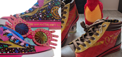 Harry Potter Quidditch-themed shoes and colorful Luna Lovegood shoes