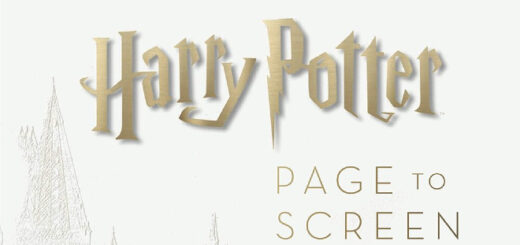 "White background with the words ""Harry Potter Page to Screen the Complete Filmmaking Journey"" in gold letters"