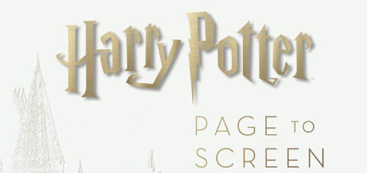 """White background with the words """"Harry Potter Page to Screen the Complete Filmmaking Journey"""" in gold letters"""