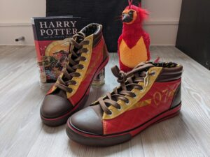 Harry Potter Quidditch-themed shoes in Gryffindor color scheme