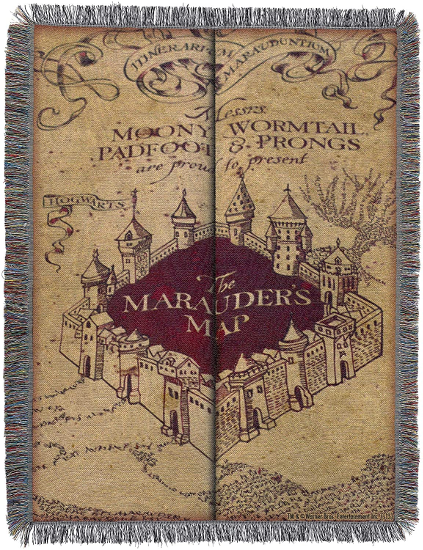 The Harry Potter Woven Tapestry Throw Blanket, Marauder's Map, is shown as pictured on Amazon.