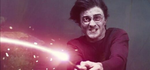 "Harry wields his wand to fend off Voldemort in ""Harry Potter and the Goblet of Fire."""