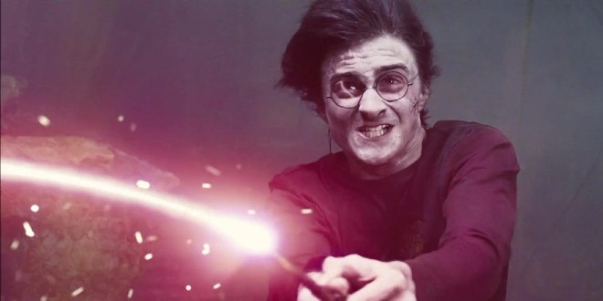 """Harry wields his wand to fend off Voldemort in """"Harry Potter and the Goblet of Fire."""""""