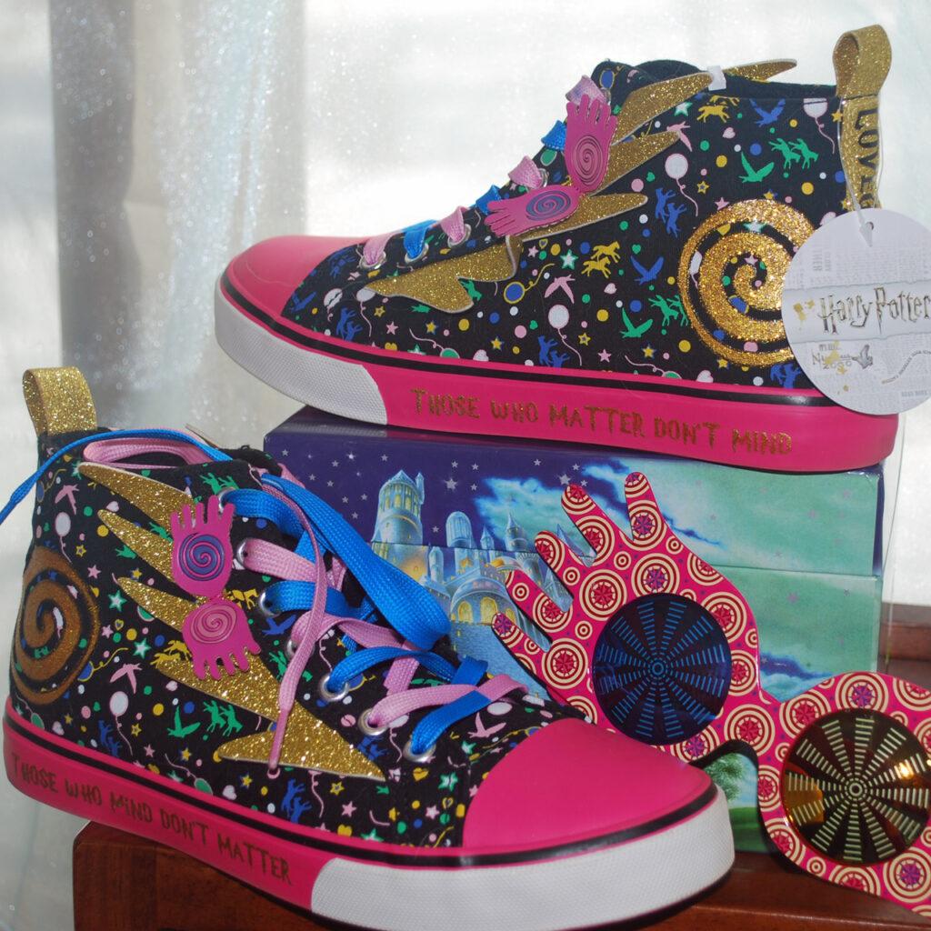 Brightly colorful Luna Lovegood shoes