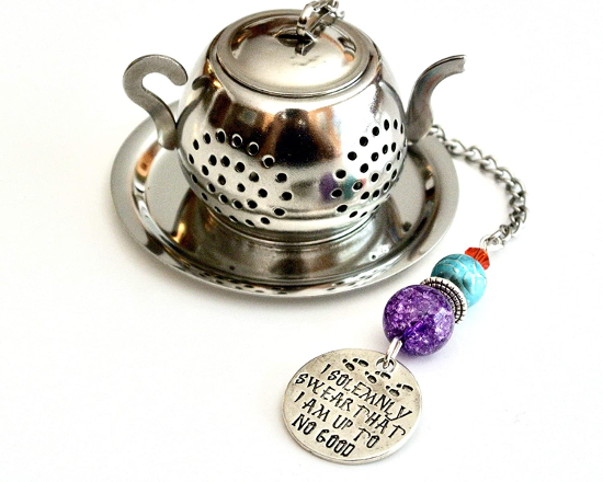 The Marauder's Map Charm Tea Infuser with Blue and Purple Beads from Trio Artisan Designs is shown as pictured on Amazon.
