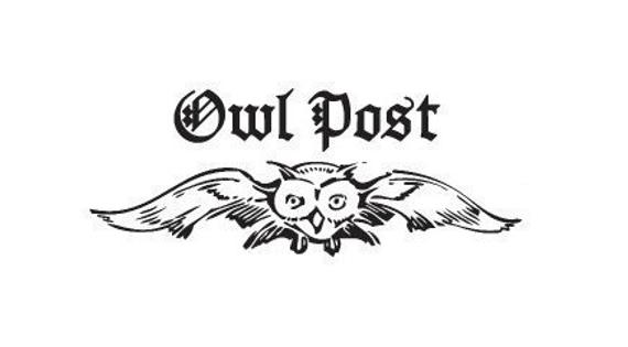 """owl flying with the words """"owl post"""" above in black"""